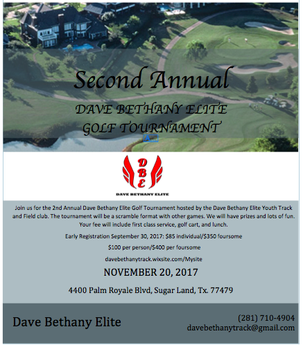 2nd Annual Dave Bethany Elite Golf Tournament