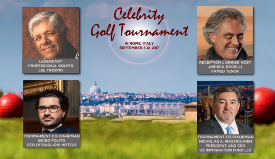 2017 Celebrity Golf Tournament in Rome with Andrea Bocelli, Lee Trevino, Dinner at the Vatican and more!